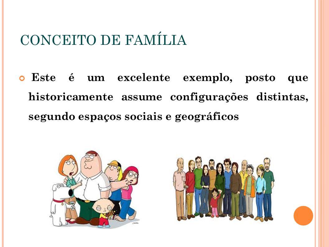 CONCEITO DE FAMÍLIA Este é um excelente exemplo, posto que historicamente assume configurações distintas, segundo espaços sociais e geográficos.