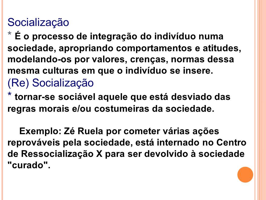 Socialização * É o processo de integração do indivíduo numa sociedade, apropriando comportamentos e atitudes, modelando-os por valores, crenças, normas dessa mesma culturas em que o indivíduo se insere.
