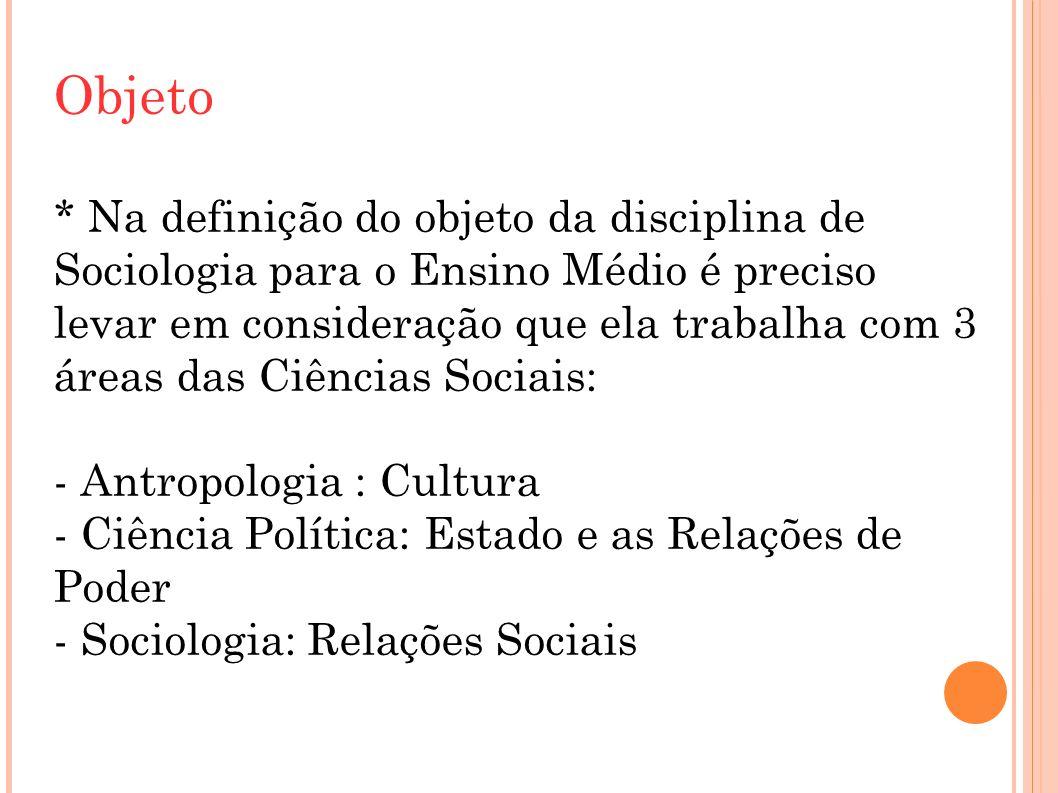 Objeto * Na definição do objeto da disciplina de Sociologia para o Ensino Médio é preciso levar em consideração que ela trabalha com 3 áreas das Ciências Sociais: - Antropologia : Cultura - Ciência Política: Estado e as Relações de Poder - Sociologia: Relações Sociais