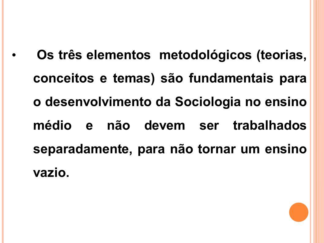 Os três elementos metodológicos (teorias, conceitos e temas) são fundamentais para o desenvolvimento da Sociologia no ensino médio e não devem ser trabalhados separadamente, para não tornar um ensino vazio.