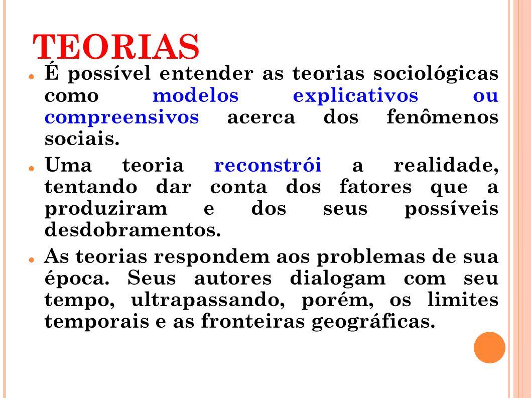 TEORIAS É possível entender as teorias sociológicas como modelos explicativos ou compreensivos acerca dos fenômenos sociais.