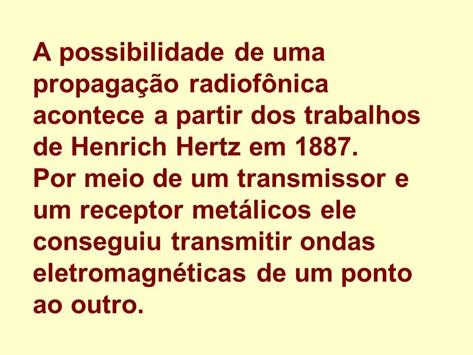 A possibilidade de uma propagação radiofônica acontece a partir dos trabalhos de Henrich Hertz em 1887.