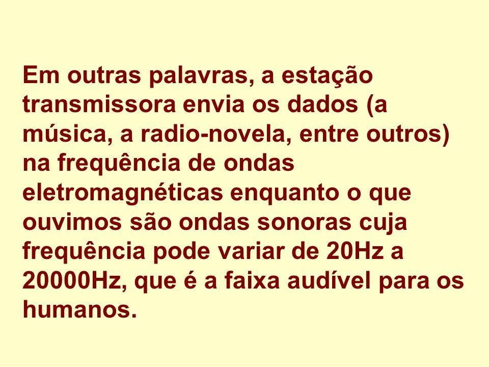 Em outras palavras, a estação transmissora envia os dados (a música, a radio-novela, entre outros) na frequência de ondas eletromagnéticas enquanto o que ouvimos são ondas sonoras cuja frequência pode variar de 20Hz a 20000Hz, que é a faixa audível para os humanos.