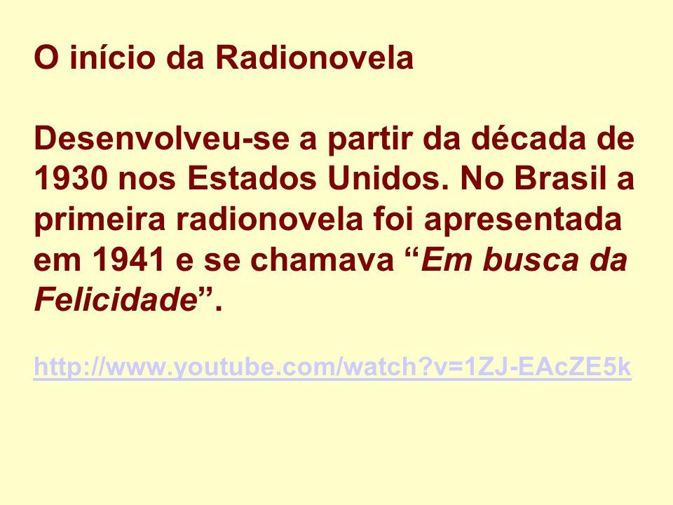 O início da Radionovela Desenvolveu-se a partir da década de 1930 nos Estados Unidos.