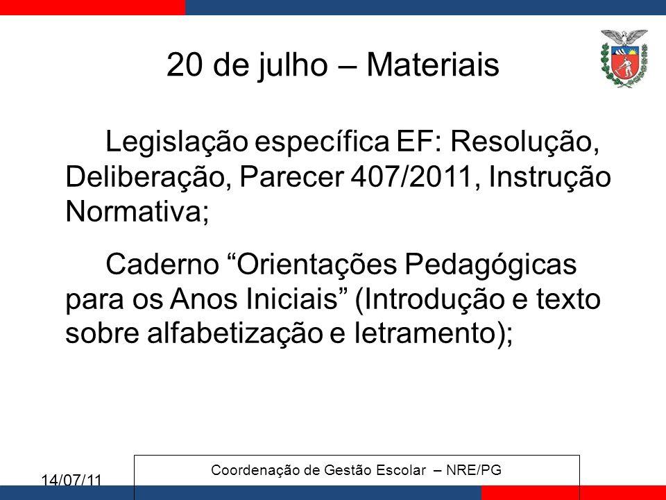 Coordenação de Gestão Escolar – NRE/PG