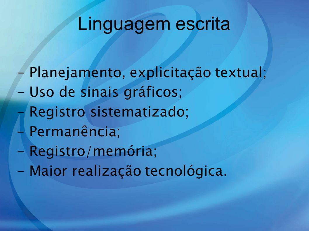 Linguagem escrita - Planejamento, explicitação textual;