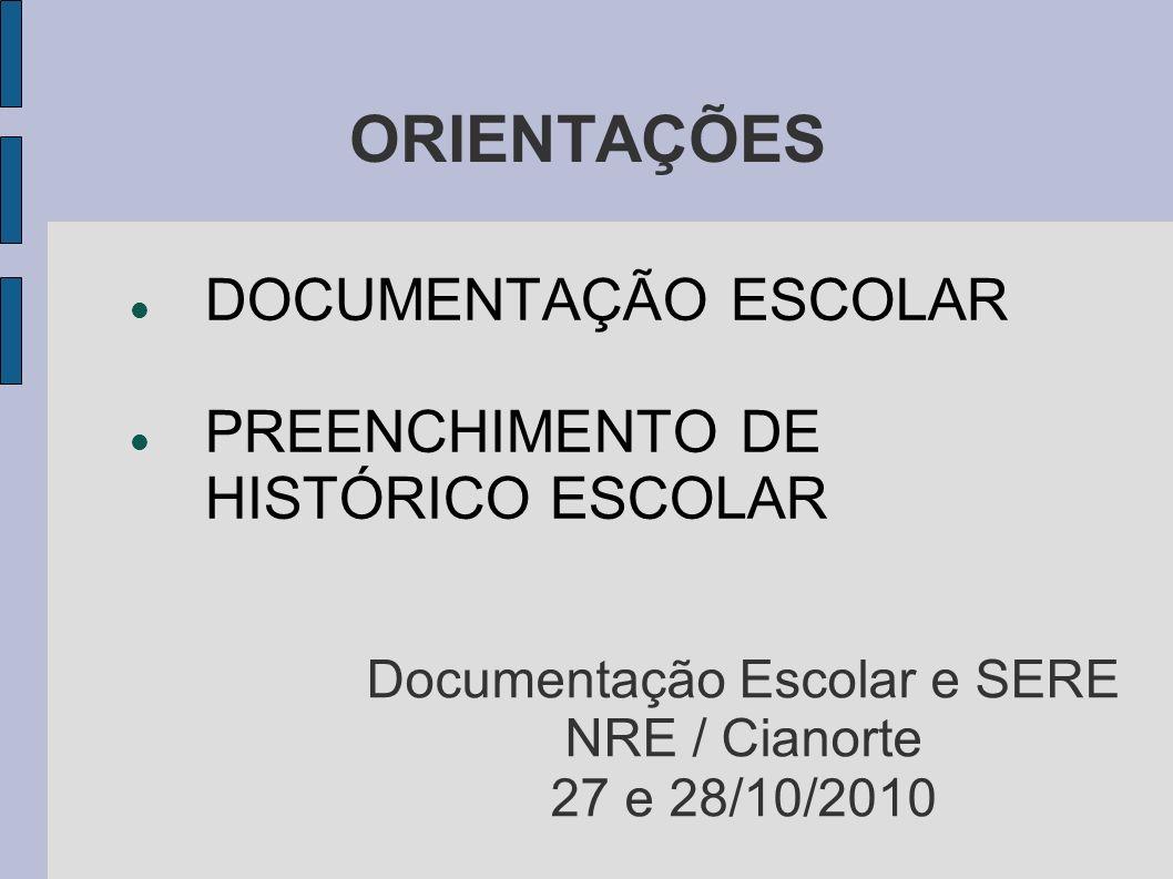 Documentação Escolar e SERE