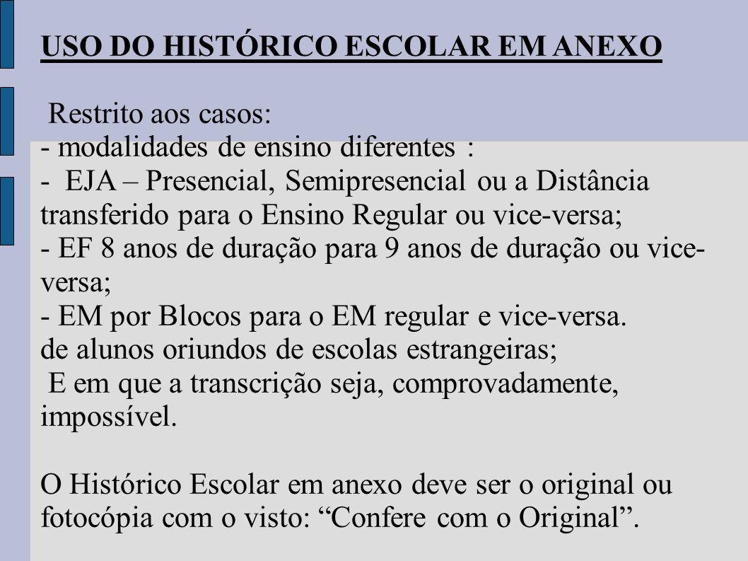 USO DO HISTÓRICO ESCOLAR EM ANEXO