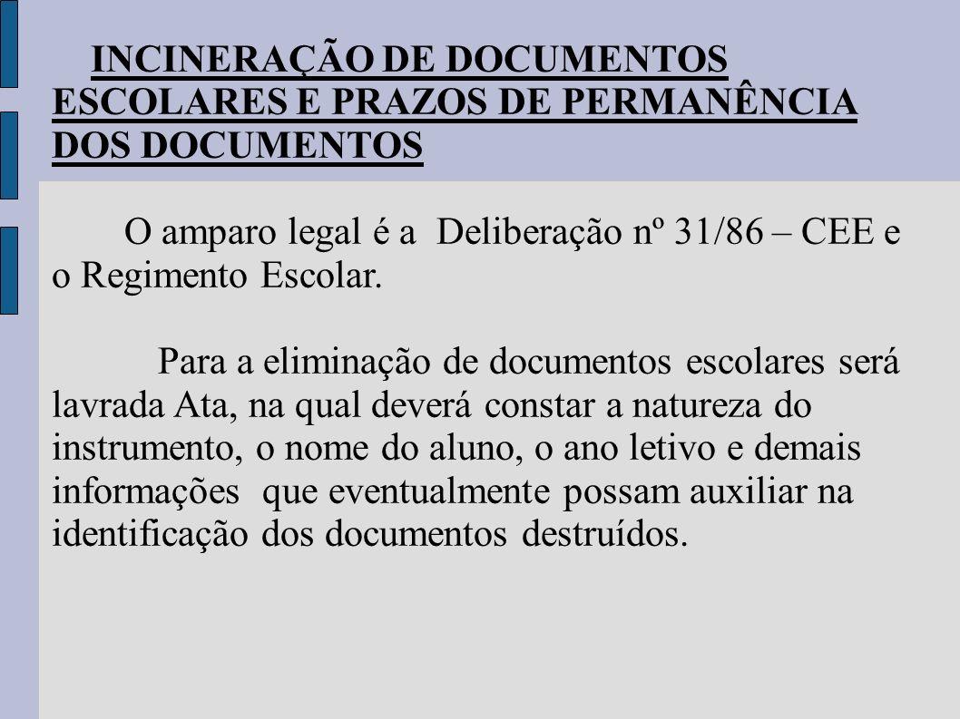 INCINERAÇÃO DE DOCUMENTOS ESCOLARES E PRAZOS DE PERMANÊNCIA DOS DOCUMENTOS