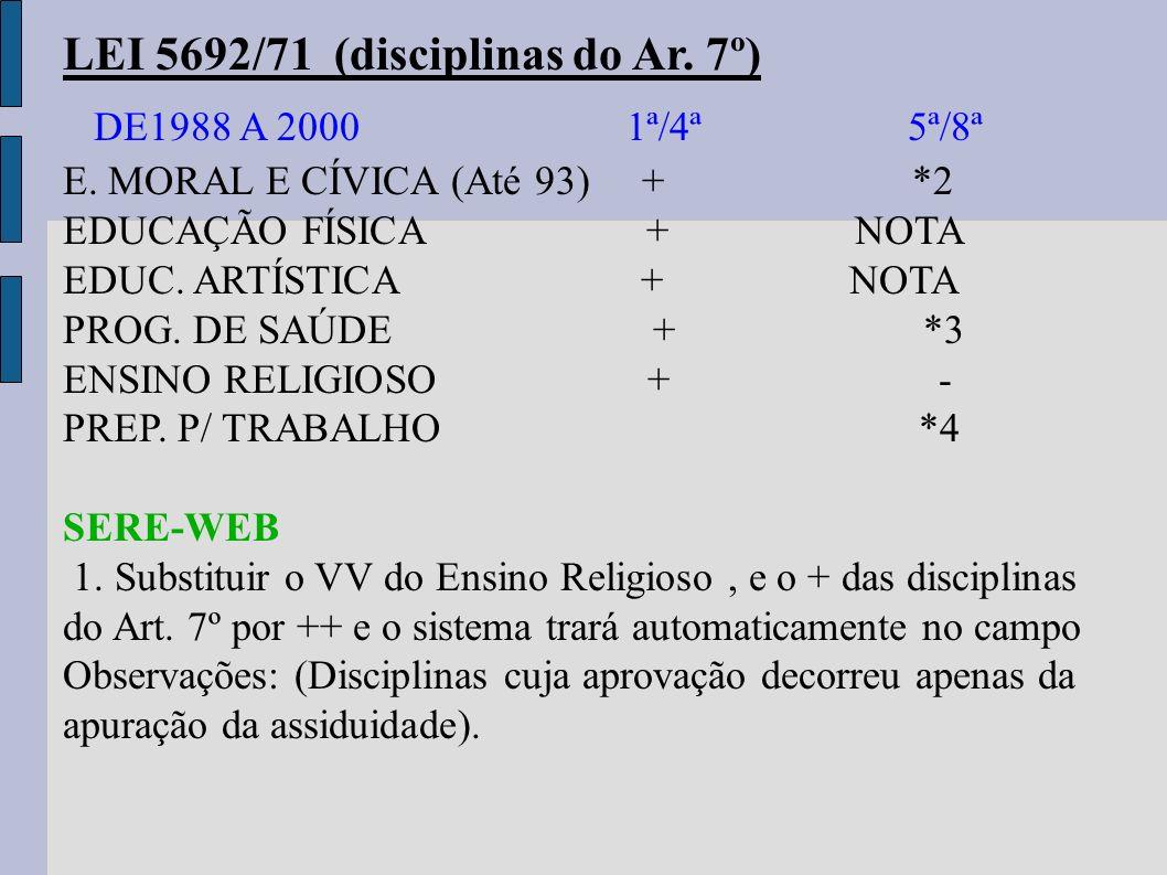 DE1988 A 2000 1ª/4ª 5ª/8ª LEI 5692/71 (disciplinas do Ar. 7º)