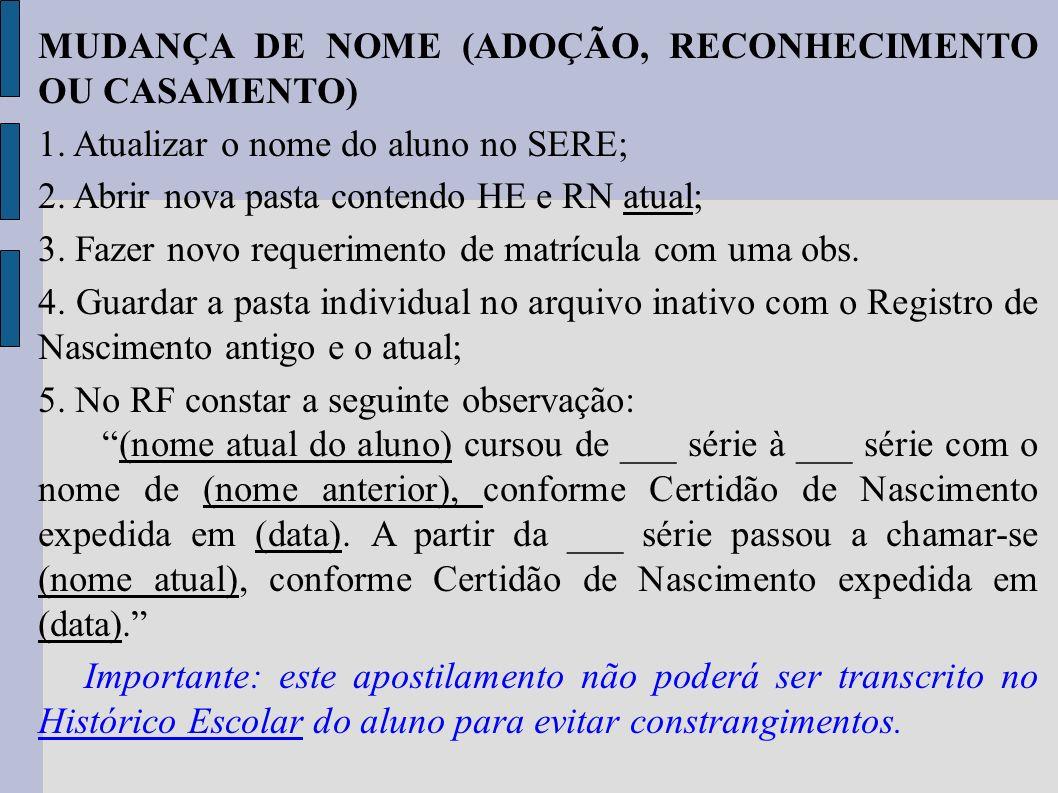 MUDANÇA DE NOME (ADOÇÃO, RECONHECIMENTO OU CASAMENTO)