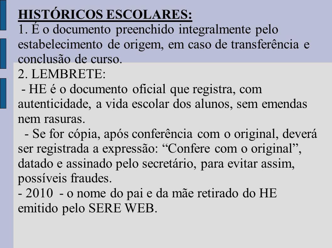 HISTÓRICOS ESCOLARES: