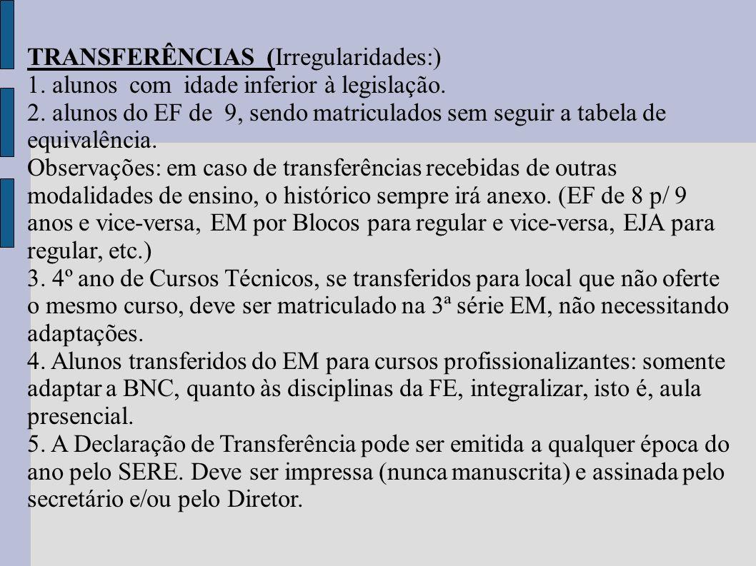 TRANSFERÊNCIAS (Irregularidades:)