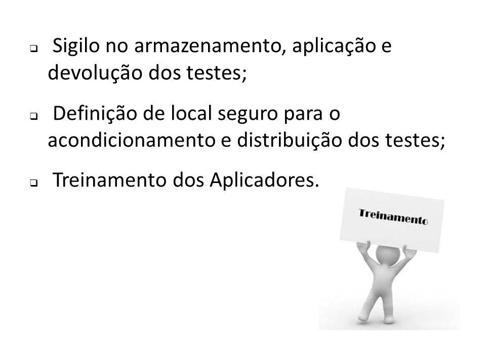 Sigilo no armazenamento, aplicação e devolução dos testes;