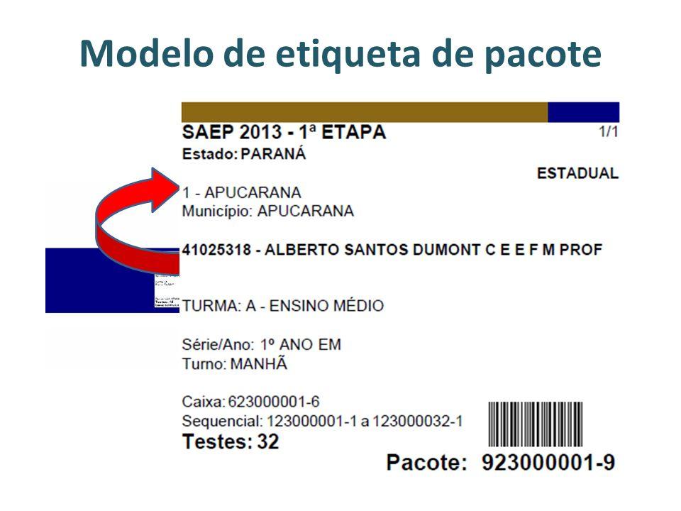Modelo de etiqueta de pacote