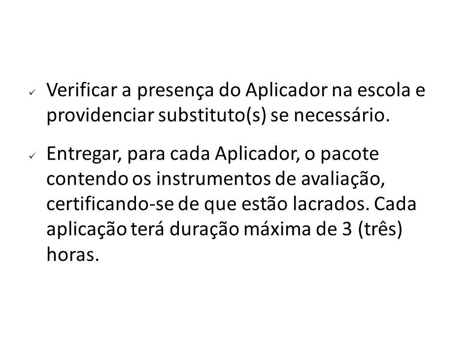Verificar a presença do Aplicador na escola e providenciar substituto(s) se necessário.
