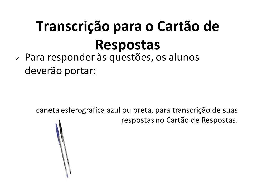 Transcrição para o Cartão de Respostas