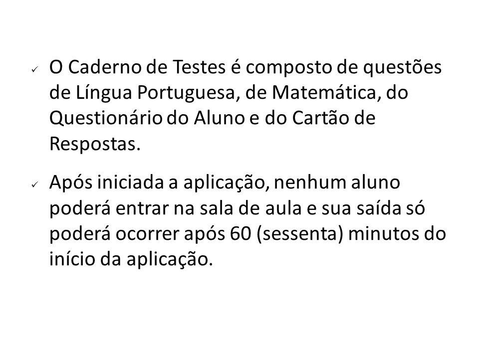 O Caderno de Testes é composto de questões de Língua Portuguesa, de Matemática, do Questionário do Aluno e do Cartão de Respostas.