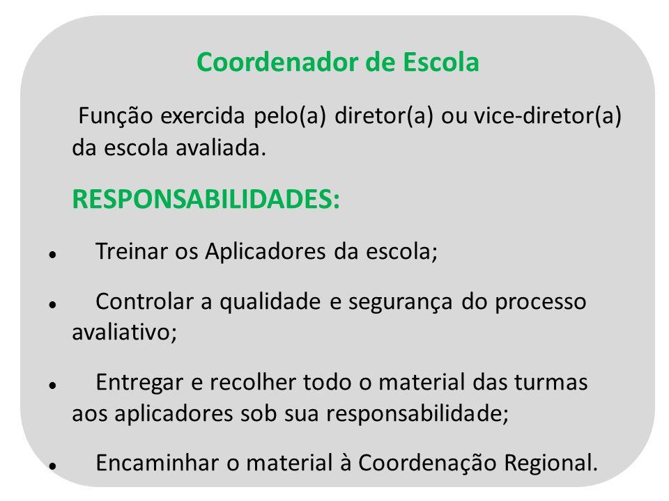 Coordenador de Escola Função exercida pelo(a) diretor(a) ou vice-diretor(a) da escola avaliada.
