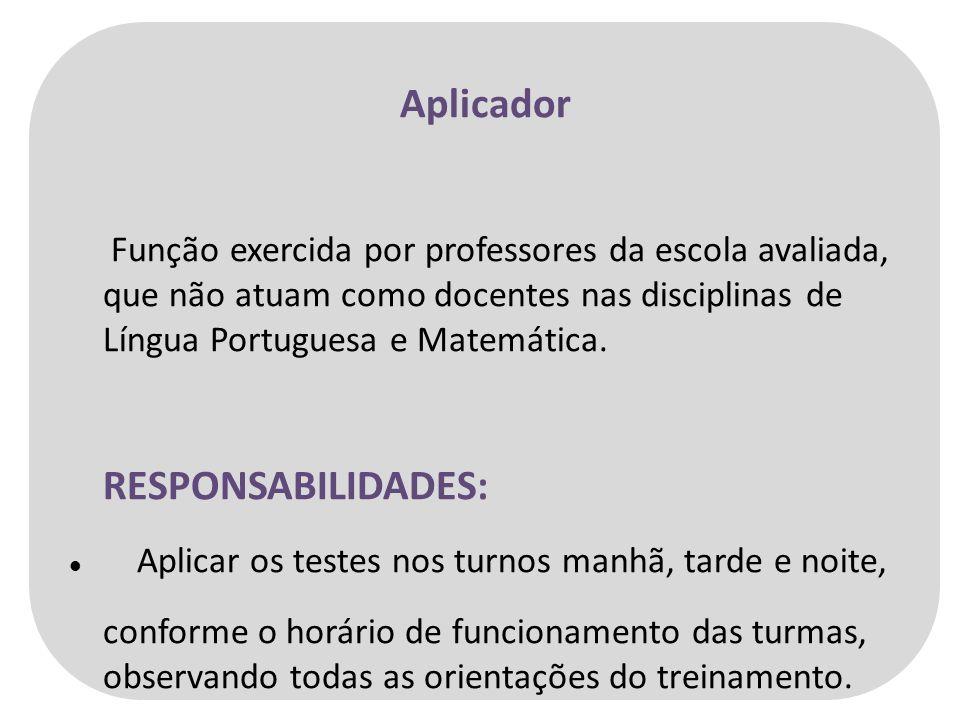 Aplicador Função exercida por professores da escola avaliada, que não atuam como docentes nas disciplinas de Língua Portuguesa e Matemática.