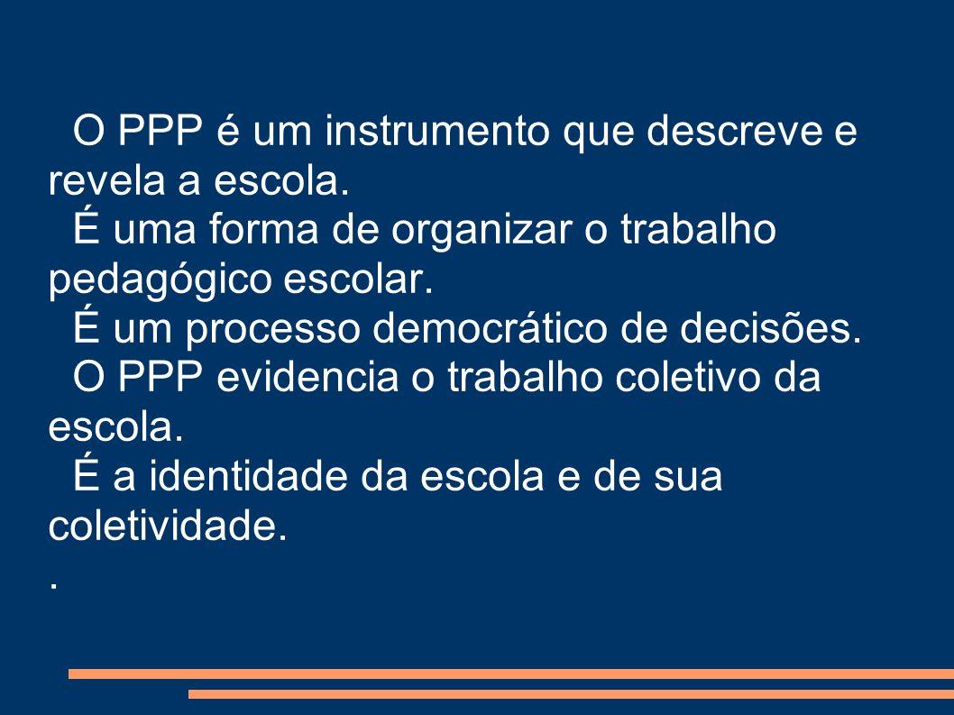 O PPP é um instrumento que descreve e revela a escola.