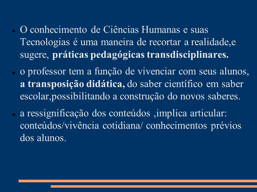 O conhecimento de Ciências Humanas e suas Tecnologias é uma maneira de recortar a realidade,e sugere, práticas pedagógicas transdisciplinares.