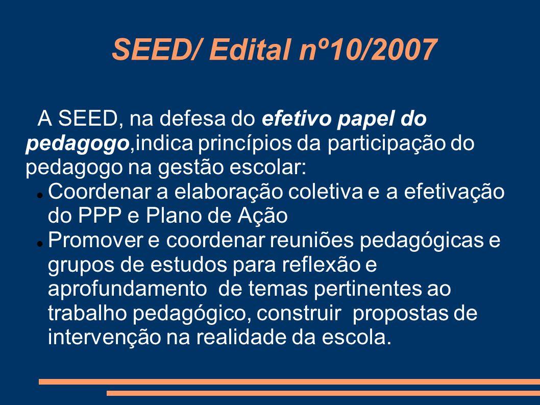 SEED/ Edital nº10/2007 A SEED, na defesa do efetivo papel do pedagogo,indica princípios da participação do pedagogo na gestão escolar: