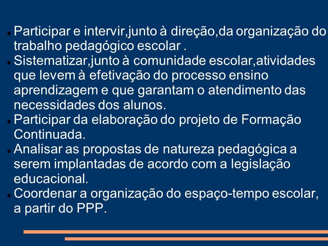 Participar e intervir,junto à direção,da organização do trabalho pedagógico escolar .