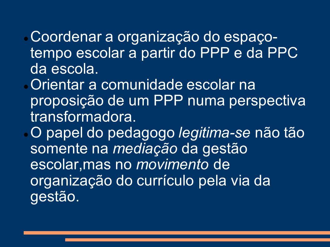 Coordenar a organização do espaço-tempo escolar a partir do PPP e da PPC da escola.