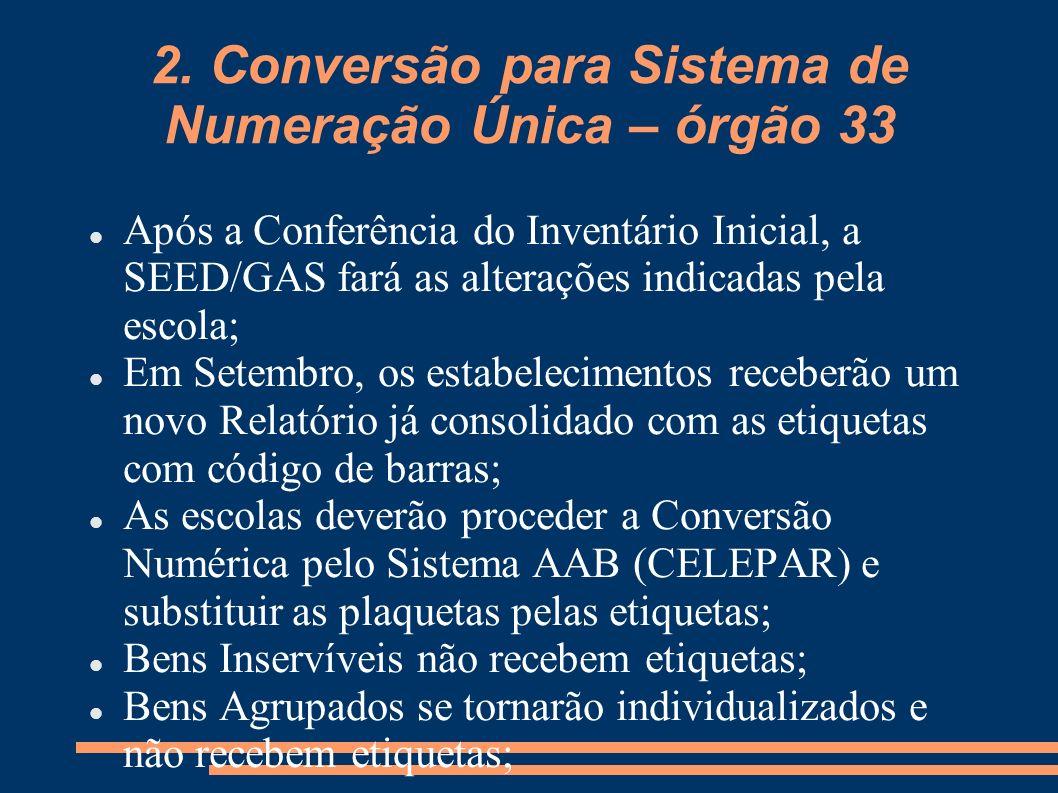 2. Conversão para Sistema de Numeração Única – órgão 33