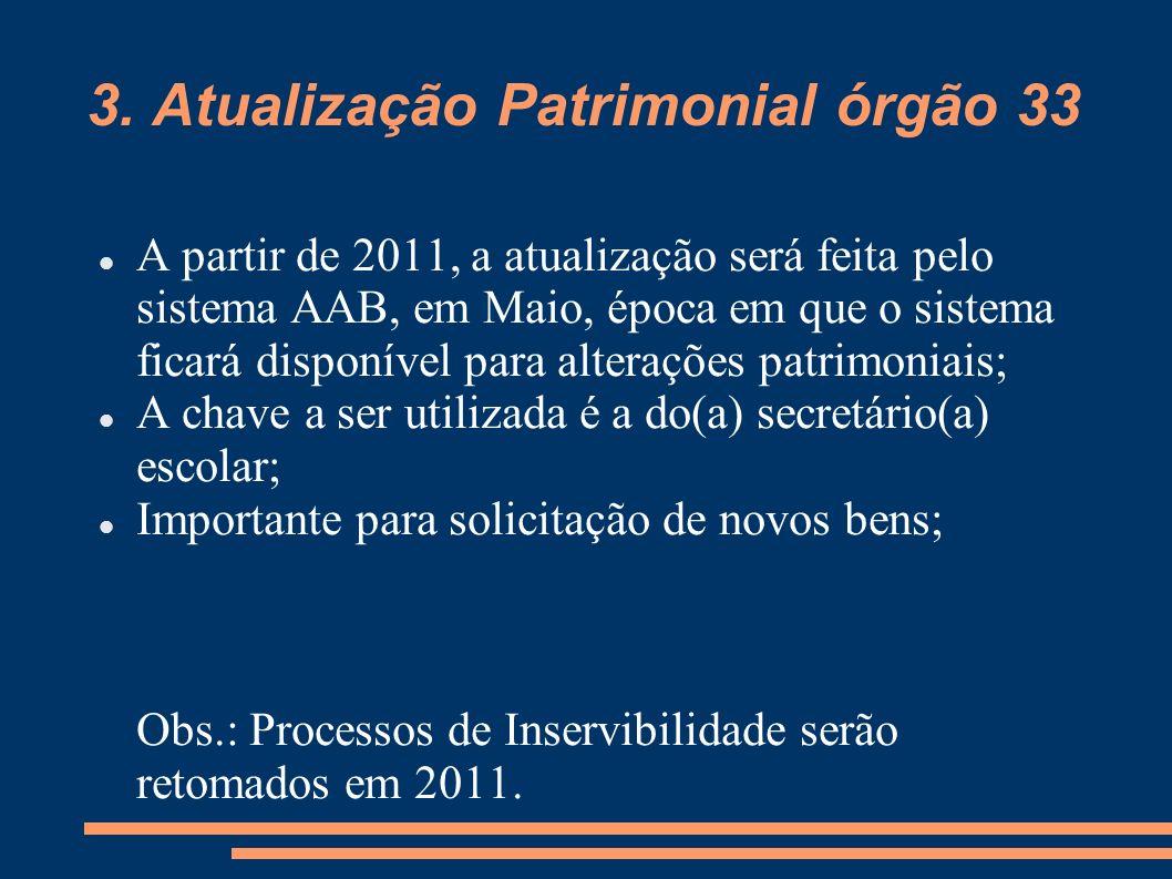 3. Atualização Patrimonial órgão 33