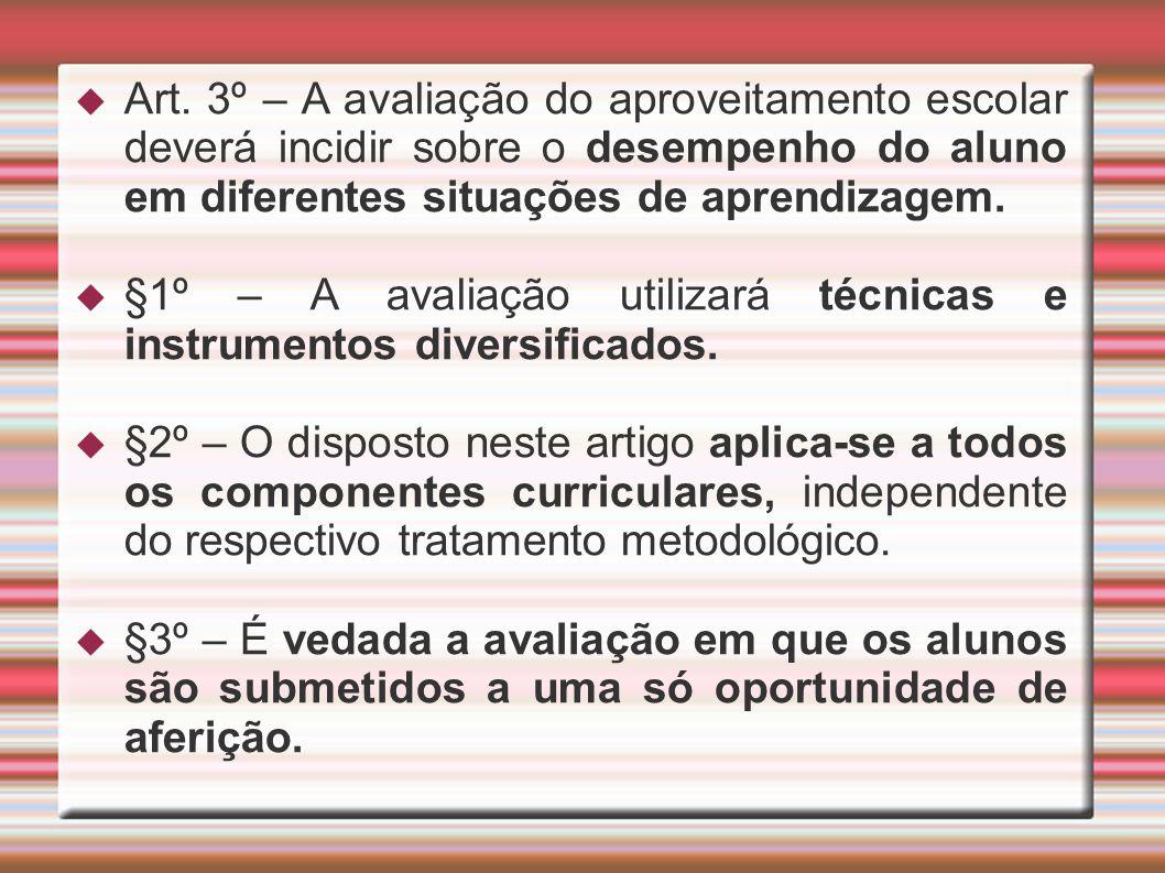Art. 3º – A avaliação do aproveitamento escolar deverá incidir sobre o desempenho do aluno em diferentes situações de aprendizagem.