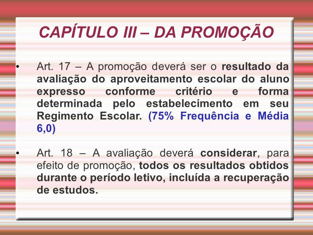 CAPÍTULO III – DA PROMOÇÃO