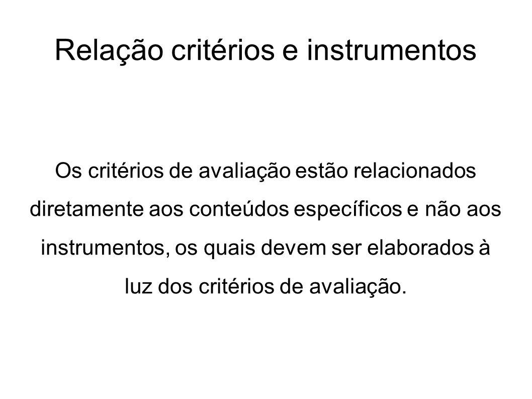 Relação critérios e instrumentos