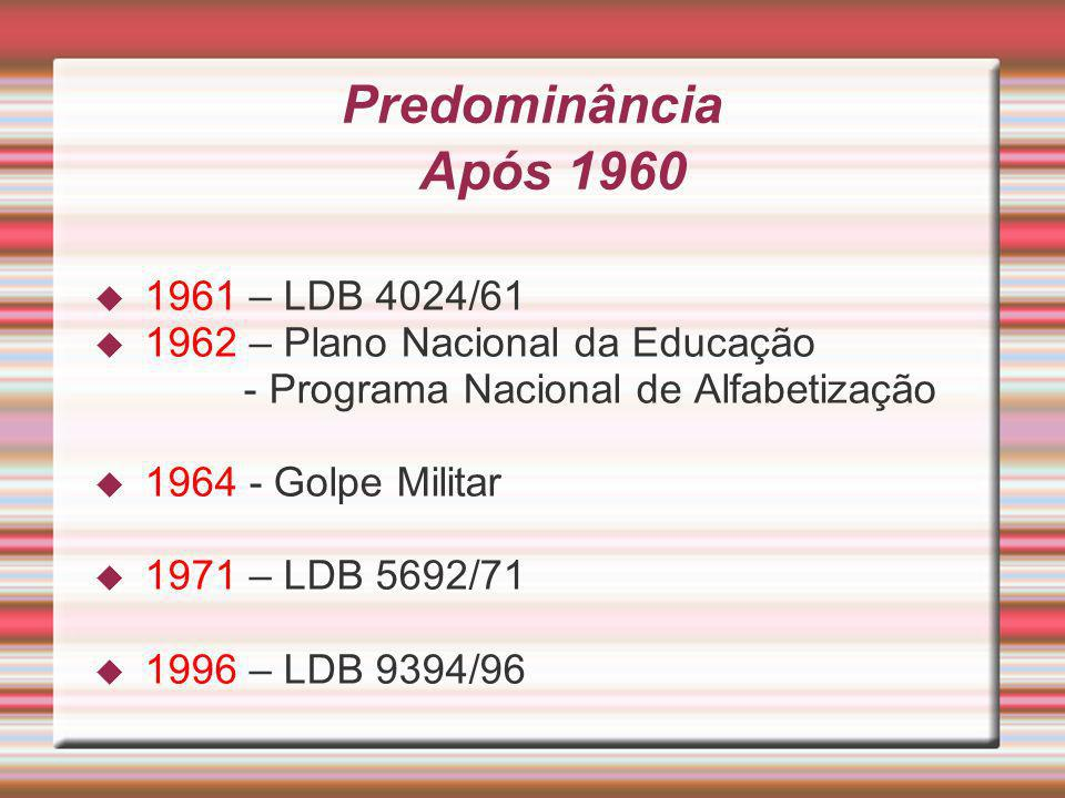 Predominância Após 1960 1961 – LDB 4024/61