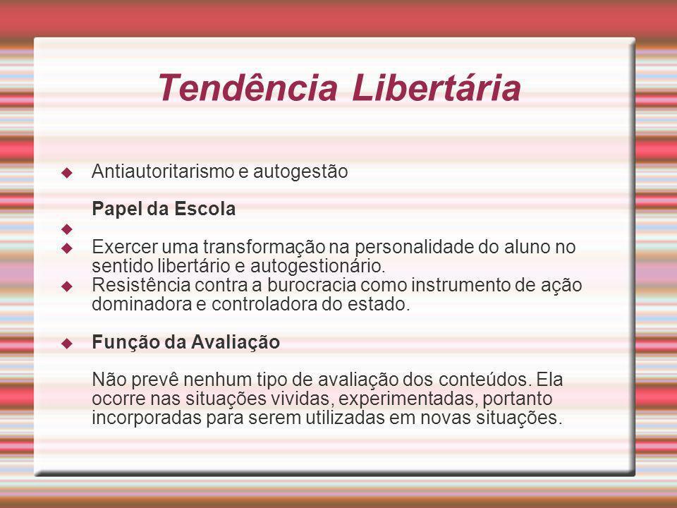 Tendência Libertária Antiautoritarismo e autogestão Papel da Escola