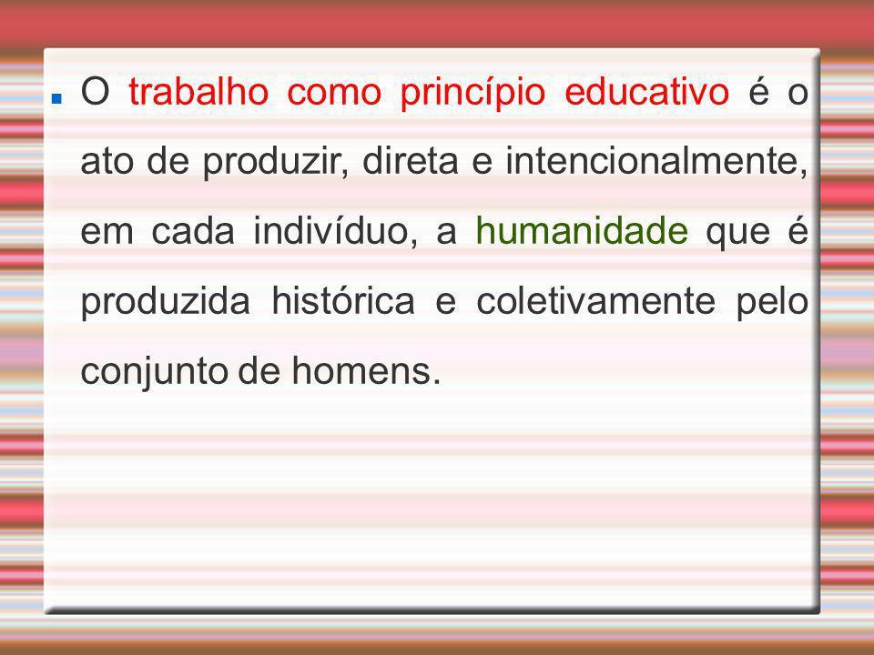 O trabalho como princípio educativo é o ato de produzir, direta e intencionalmente, em cada indivíduo, a humanidade que é produzida histórica e coletivamente pelo conjunto de homens.