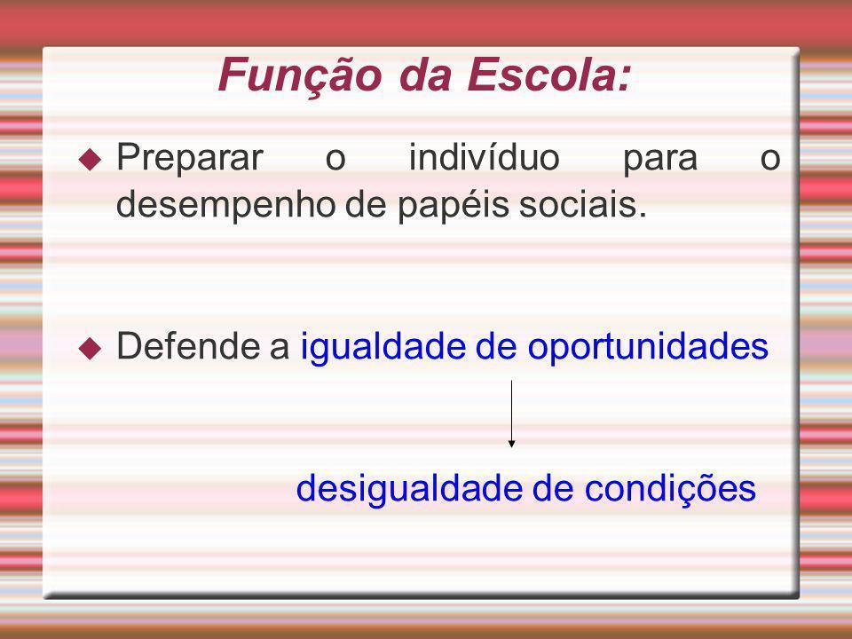 Função da Escola: Preparar o indivíduo para o desempenho de papéis sociais. Defende a igualdade de oportunidades.