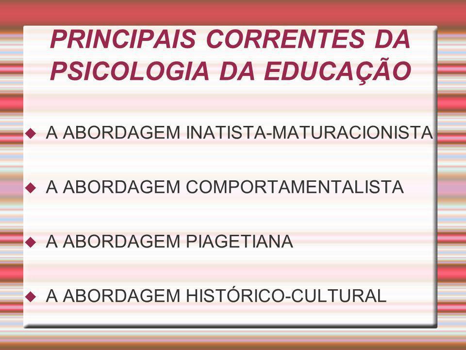 PRINCIPAIS CORRENTES DA PSICOLOGIA DA EDUCAÇÃO