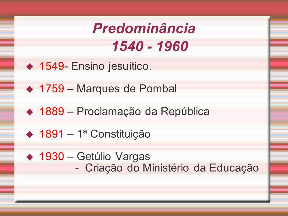 Predominância 1540 - 1960 1549- Ensino jesuítico.