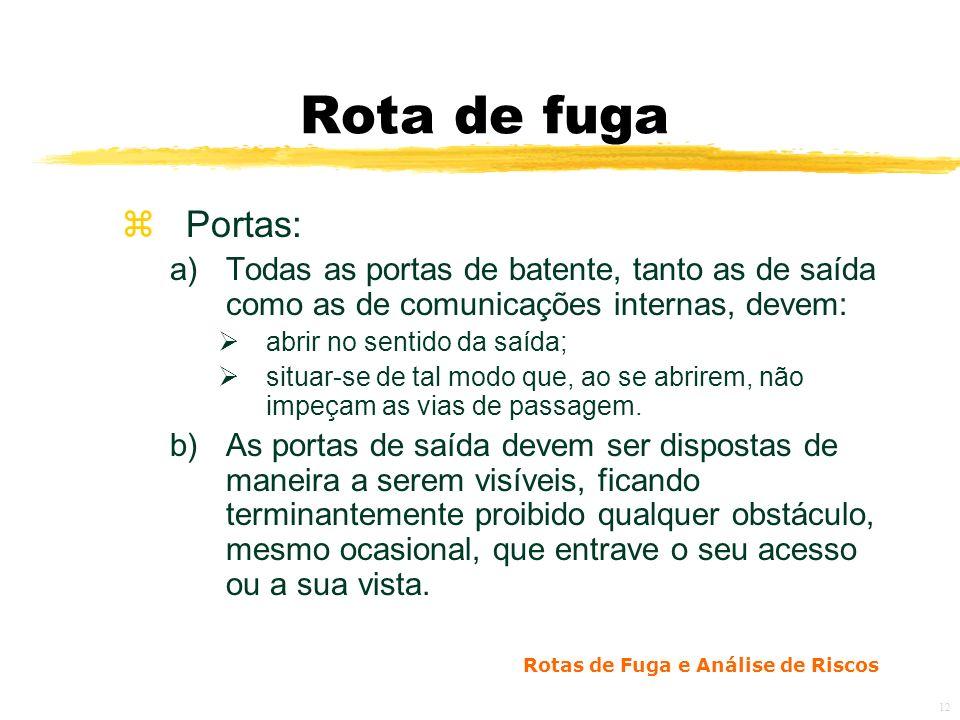 Rota de fuga Portas: Todas as portas de batente, tanto as de saída como as de comunicações internas, devem: