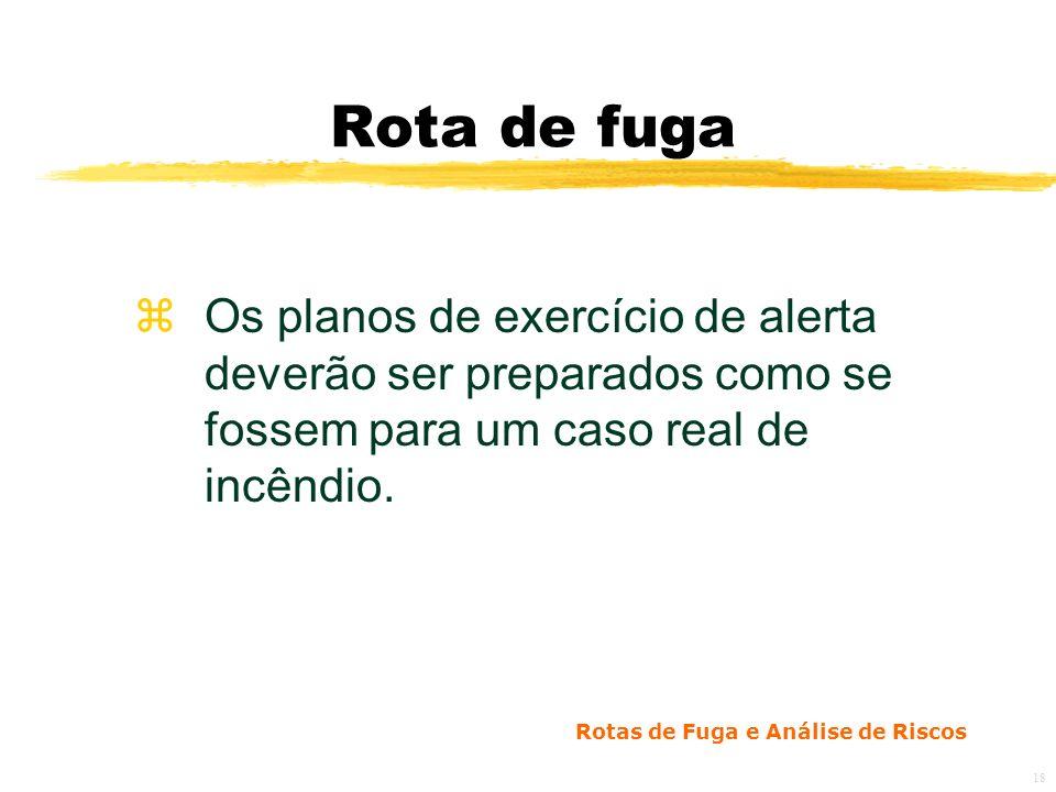 Rota de fuga Os planos de exercício de alerta deverão ser preparados como se fossem para um caso real de incêndio.