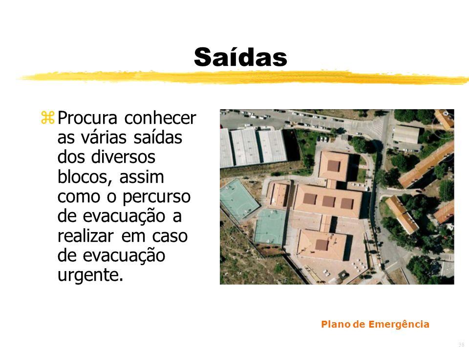 Saídas Procura conhecer as várias saídas dos diversos blocos, assim como o percurso de evacuação a realizar em caso de evacuação urgente.