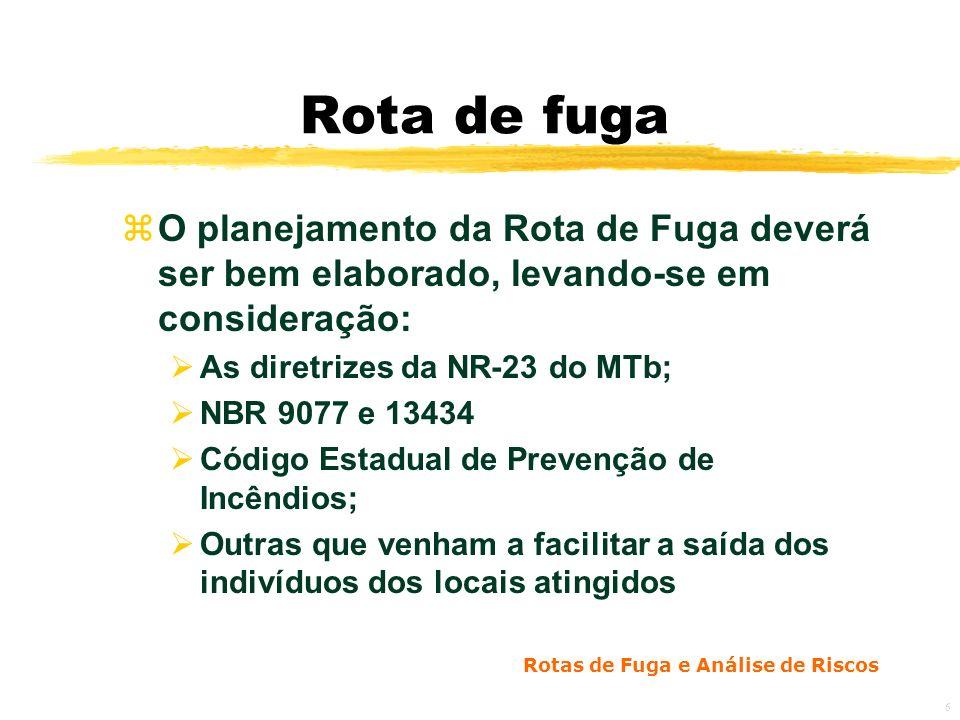 Rota de fuga O planejamento da Rota de Fuga deverá ser bem elaborado, levando-se em consideração: As diretrizes da NR-23 do MTb;