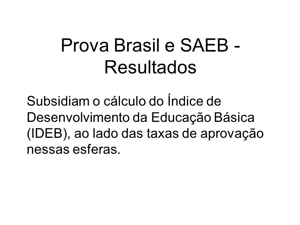 Prova Brasil e SAEB - Resultados