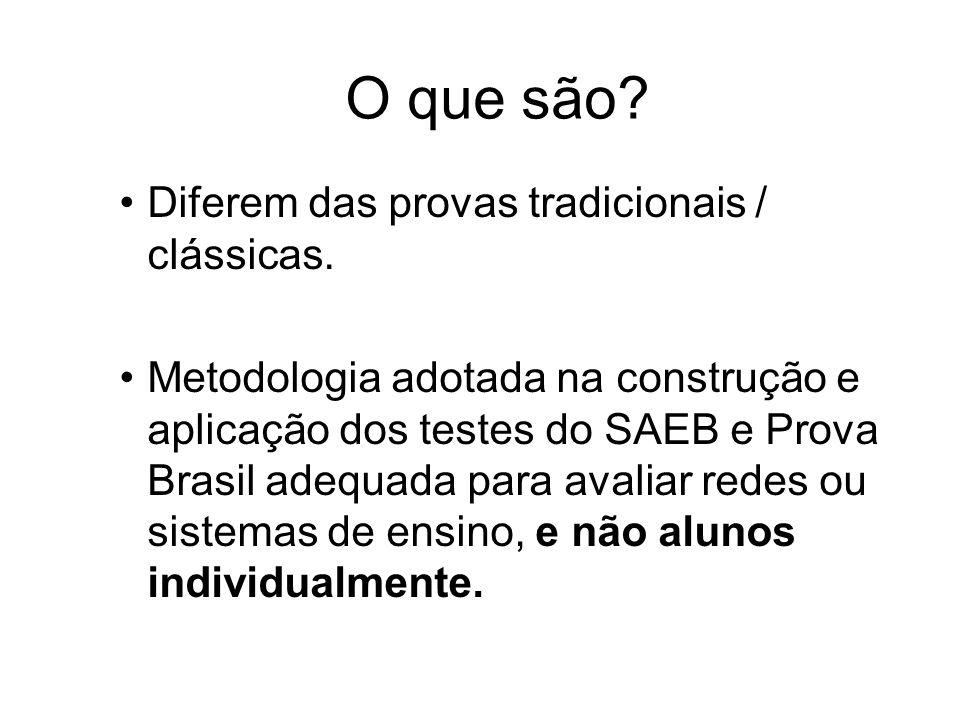 O que são Diferem das provas tradicionais / clássicas.