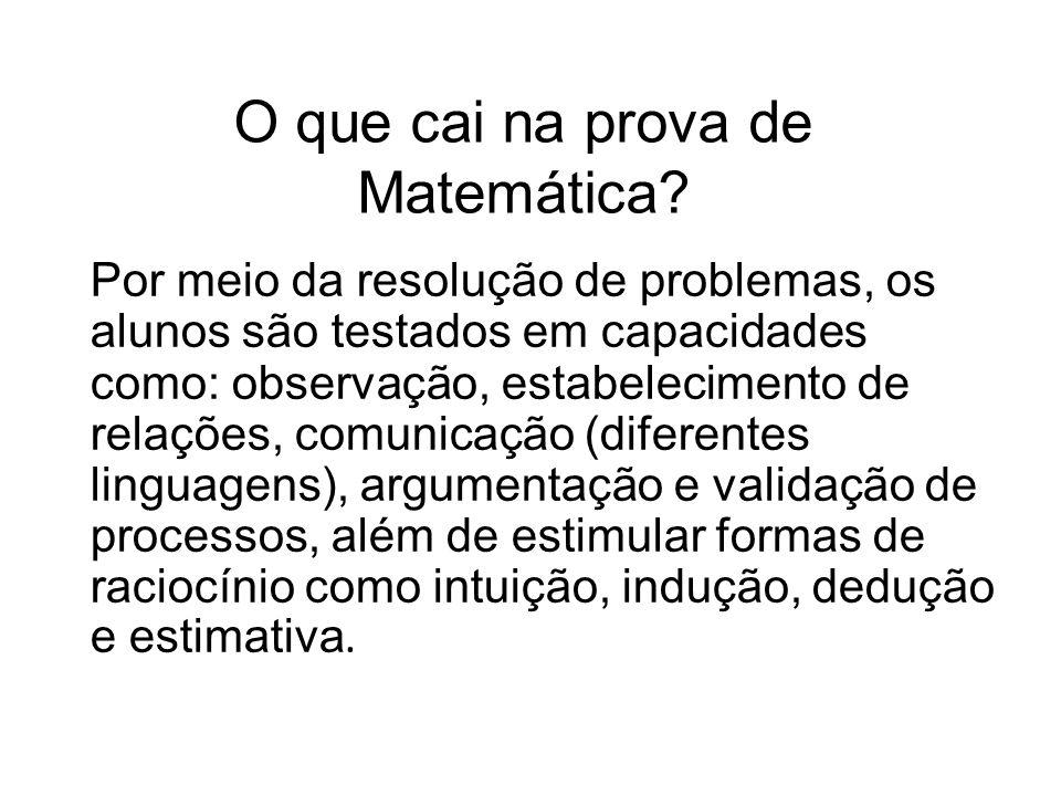 O que cai na prova de Matemática