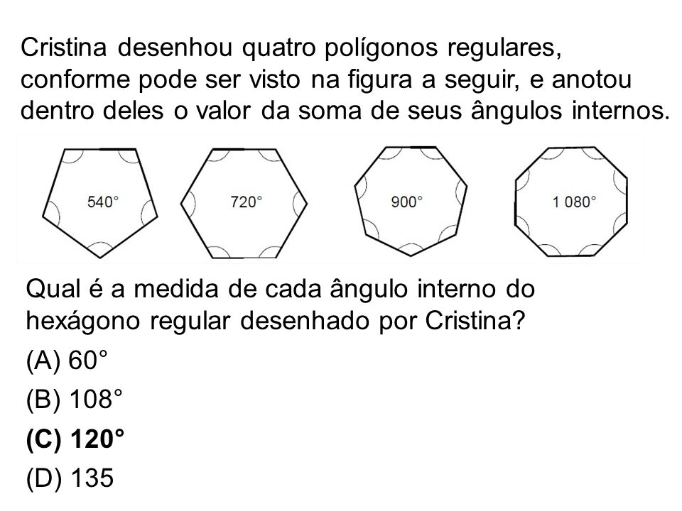 Cristina desenhou quatro polígonos regulares, conforme pode ser visto na figura a seguir, e anotou dentro deles o valor da soma de seus ângulos internos.