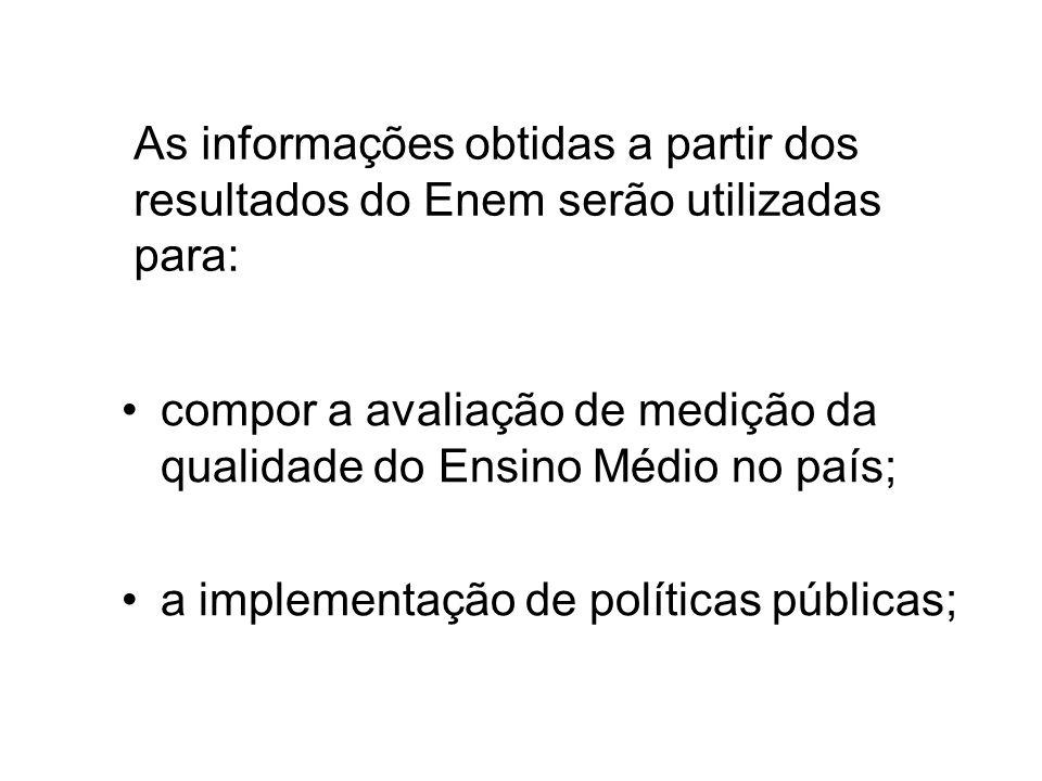 As informações obtidas a partir dos resultados do Enem serão utilizadas para: