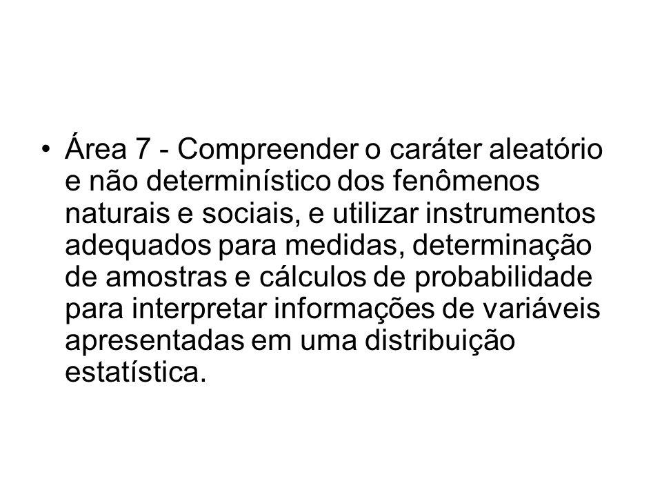 Área 7 - Compreender o caráter aleatório e não determinístico dos fenômenos naturais e sociais, e utilizar instrumentos adequados para medidas, determinação de amostras e cálculos de probabilidade para interpretar informações de variáveis apresentadas em uma distribuição estatística.